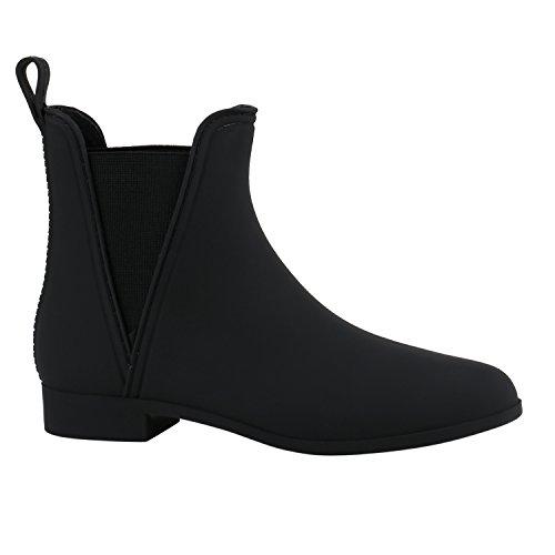 Bequeme Stiefeletten Damen Chelsea Boots Gummistiefel Lack Schuhe 137935 Schwarz Matt 39 Flandell