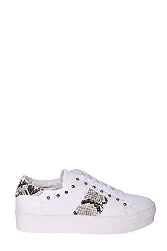 MELINE Sneaker Pelle Total White Con Borchie, Banda Laterale Simil Pitone e para in Gomma