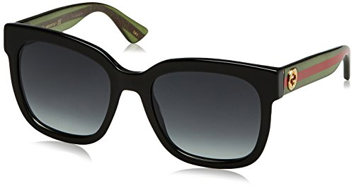 Gucci GG0034S - 002 Sunglasses Black/Green w/ Grey Gradient Lens 54mm