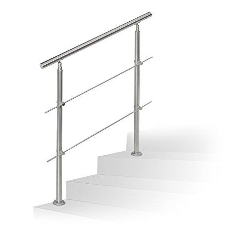 Relaxdays Treppengeländer Edelstahl Set, für Innen und Außen, Handlauf,1,0 m lang, 2 Pfosten, 2 Querstreben, silber