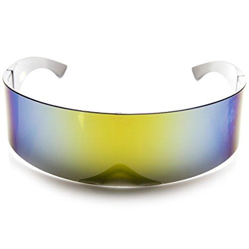 80s Futuristic Cyclops Cyberpunk Visor Sunglasses, Mirrored