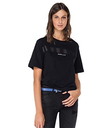 Replay Damen W3180L.000.22980P T-Shirt, 098 Black, XL