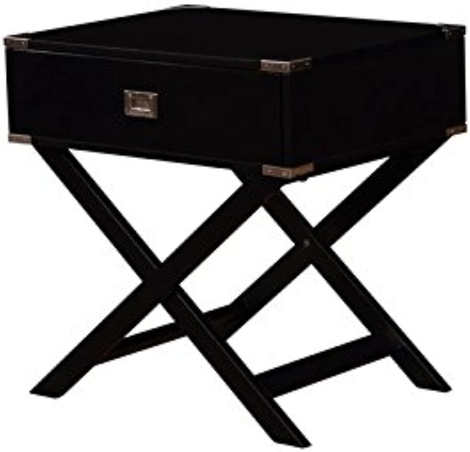 Linon Peggy X Base Black Accent Table