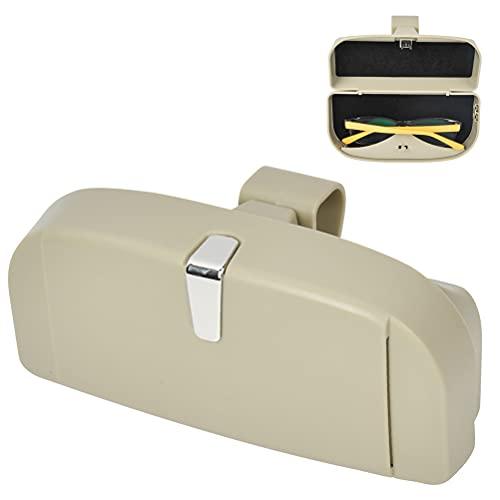 Funda universal para gafas de coche con función magnética y ranura para tarjetas, multifuncional, soporte para gafas de sol para coche, organizador para el parasol del coche (beige)
