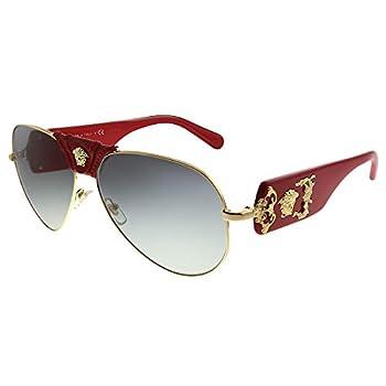 Versace Baroque VE 2150Q 100211 Gold Red Leather Metal Aviator Sunglasses Grey Gradient Lens