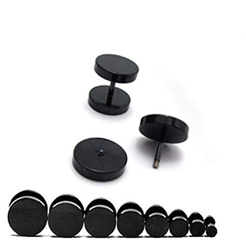 Men Cool Punk Round Black Stainless Steel Ear Stud Piercing Earrings 3mm - 14mm - Black 5mm - Earrings - Birthday Gifts Christmas Stocking Filler Gifts Valentines Gifts Easter Gifts