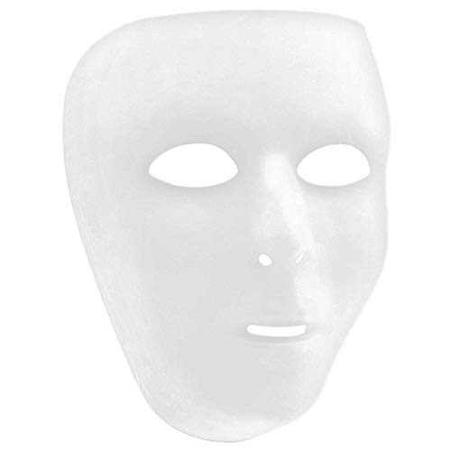 """Amscan Plain White Face Full Mask, 6 1/4"""" x 7 3/4"""""""