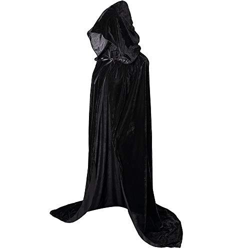 Capa con Capucha Negro Largo Disfraz de Halloween para Mujeres Hombres Carnaval Adulto Fiesta Disfraces