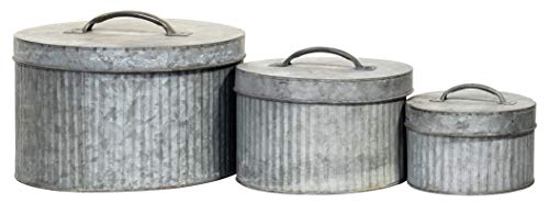 Red Co. Rustic Style 3 Piece Galvanized Metal Nesting Canisters with Lids for Storage and Organization 10'x7'