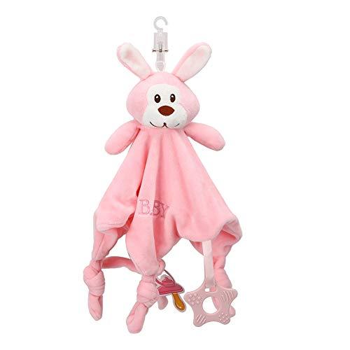 Ladieshow recién nacido edredón de peluche de juguete calmante bebé animal pañuelo suave manta de toalla de bebé(Conejo rosa)