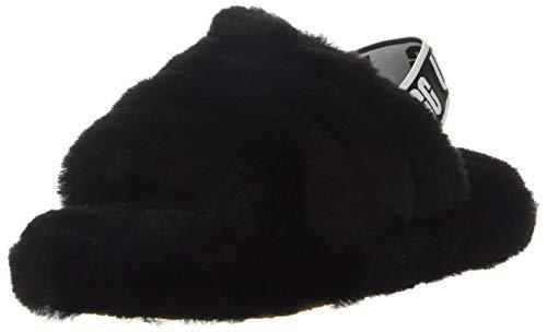 UGG Kids' Fluff Yeah Slide Slipper, Black, 4
