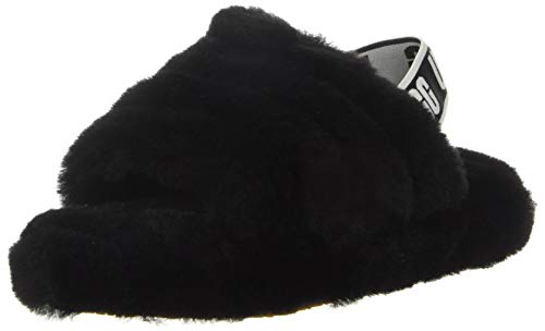 UGG Kids' Fluff Yeah Slide Slipper, Black, 4