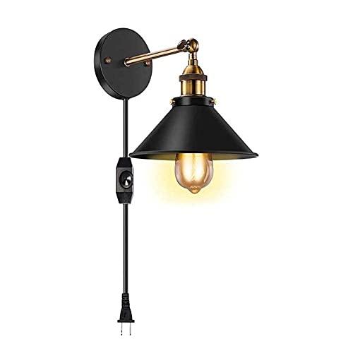 YANSW Lámpara de pared Aplique de pared Aplique de pared, 2 en 1 Iluminación interior Regulable/Mini luz de techo Brazo oscilante ajustable con regulador de intensidad Industrial con enchufe,1 paqu