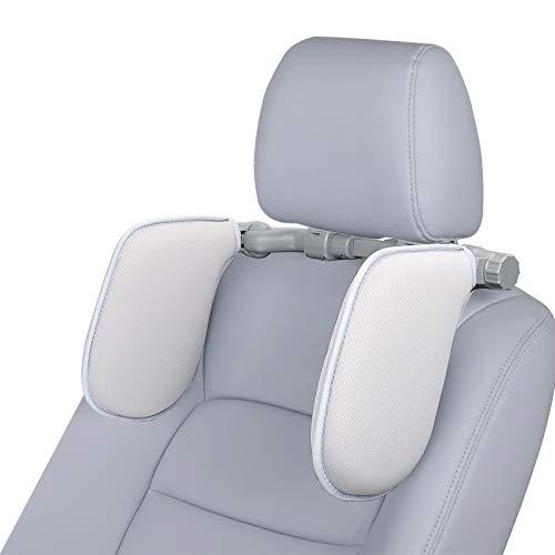 Spurtar Kopfstütze Auto, klapbar Nackenstütze, Kopfstütze Kissen mit Textilbezug, Autositz Kopf-Nacken-Unterstützung zum Sicher & Bequem Schlafen von Kinder und Erwachsene - Grau