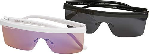 Urban Classics Sonnenbrille Sunglasses Rhodos 2-Pack Gafas, black/white, Talla única Unisex Niños