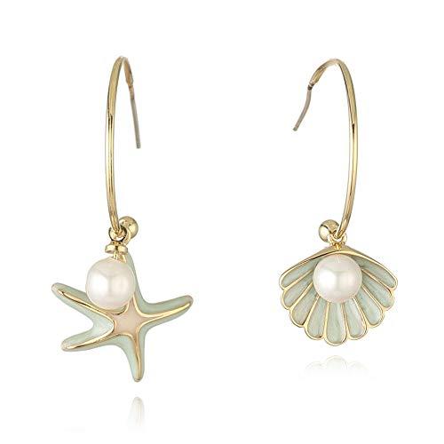 Pendientes asimétricos de aguja de plata con perlas de agua dulce de concha de estrella de mar elegante de cobre europeo y americano S925