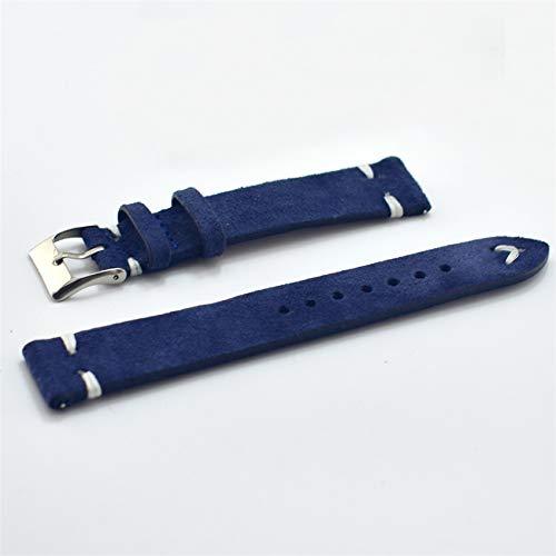 SHIWU herenarmband, echt suède, vintage, 18 mm, 20 mm, 22 mm, 24 mm, armband in blauw, hoogwaardige accessoires