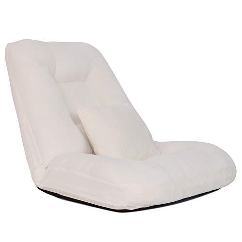 LJFYXZ Canapé Paresseux Chaise Réglage à 14 Vitesses Pliable Chambre individuelle Chaise paresseuse Tissu Doux Confortable et Respirant Multicolore en Option (Couleur : Blanc)