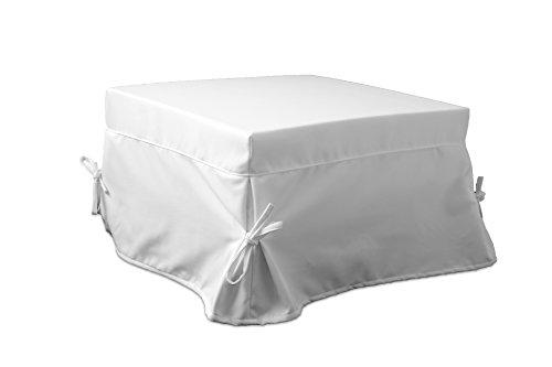 Ponti Divani - Fodera Rivestimento con Balza e Laccetti per Pouf Letto Singolo 75,5x75,5 h 43cm Tessuto Bianco