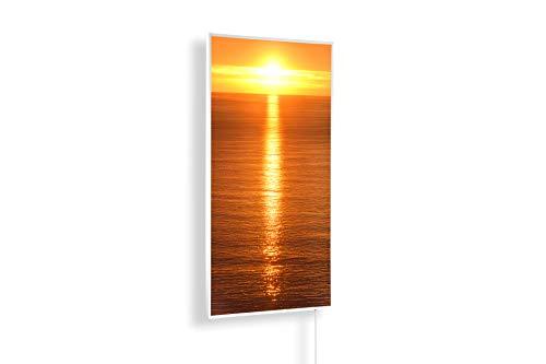 Könighaus Fern Infrarotheizung - Bildheizung in HD Qualität mit TÜV/GS - 200+ Bilder – mit Smart Home Thermostat, steuerbar mit APP für Handy- 1000 Watt (45. Sonnenuntergang Meer)