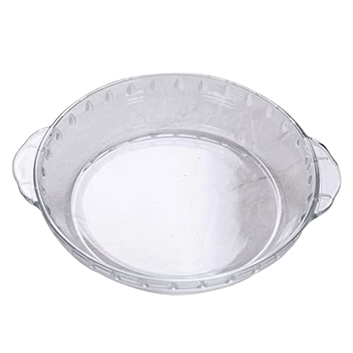 Pizza Plate Binaural Food Tray Heat-Resistant Round Bakeware Household Rice Bowl Healthy & Heavy Duty Used For Cheese,Bread, Cutting Fruit, Vegetables (Color : Clear, Size : 9') Kitchenware