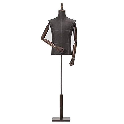 Maniqui Costura Medio Cuerpo del maniquí Masculino Ajustable para la Forma de Vestir de los Hombres Jersey Jersey Trajes de exhibición, con Soporte de Madera Resistente (Color : Style 2)