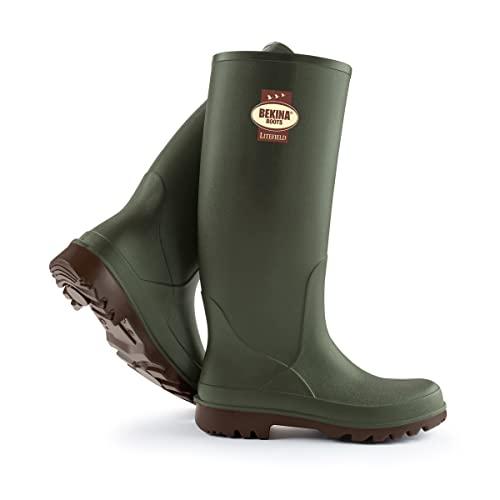 Wanderstiefel Herren und Damen mit Einlegesohle für trockene & warme Füße, rutschfest, federleicht, isolierend bis - 20 Grad, Grün, Größe 40