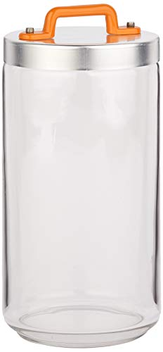 Italo Ottinetti Glass Jar Al Lid Painted Handle Orange 1.5 Litre, one Size