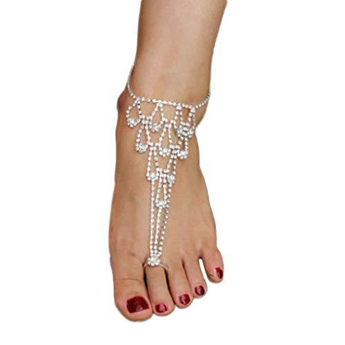 descalzo cadena de novia Crystal Beach sandalias descalzas de la muchacha Señora...