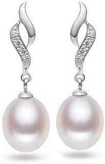 JACA 925 Sterling Silver Pearl Earrings, Dangle Pearl Earrings, Simulated Shell Pearl Earrings leverback Earrings,Women Pearl Dangle Earrings, Hypoallergenic Imitation Pearl,White Shell Pearl Earrings
