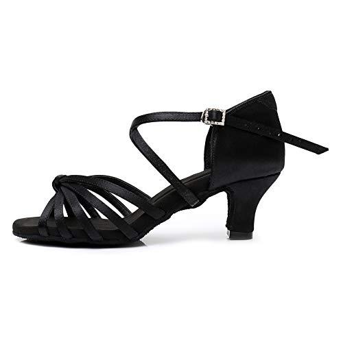 YKXLM Zapatos de Baile Latino Negro para Mujer Salsa Tango Ballroom Practice Performance Sandals,Modelo ES-LP1217-ZSZK-5.5CM,6.5 UK / 39 EU / 25.5 CM