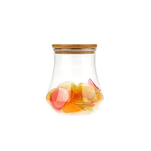 FINSHN Envase De Almacenamiento De Vidrio, Botella De Vidrio De Refrigerio, Botella De Almacenamiento Té De Comida, Tarro De Granos Varios, Frasco De Vidrio Sellado De Frutas Secas, Frasco De Comida S