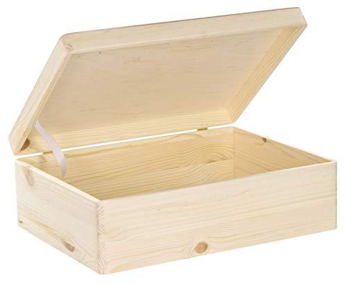 LAUBLUST Große Holzkiste mit Deckel - 40x30x14cm, Natur, FSC® | Allzweck-Kiste aus Holz - Aufbewahrungskiste | Geschenk-Verpackung | Deko-Kasten zum Basteln | Spielzeug-Truhe | Erinnerungsbox