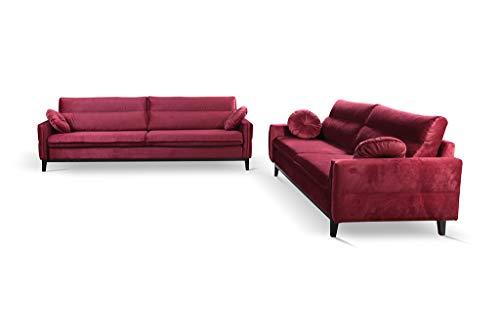 MOEBLO Polstergarnitur Ohrensofa 3 Sitzer und 2 Sitzer Sofa Couch Garnitur Stoff Samt (Velour) Glamour Wohnlandschaft - Estela (Burgund)