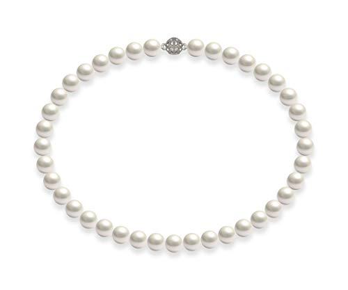 Schmuckwilli Damen Muschelkernperlen Perlenkette Weiß mit Super Hocher Glanz Magnetverschluß echte Muschel 50cm dmk1018-50 (10mm)