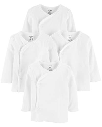 Carters Unisex 4 Pack Long Sleeve Side Snap Mitten Cuff Shirt (3 Months, White)