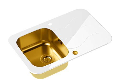 Spüle Glasspüle Einbauspüle Küchenspüle 78 x 50 cm Edelstahl + Gold mit weißem Glas
