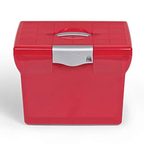 1PLUS Premium Ablagebox Hängemappenbox Aktenbox Archivbox (aus Kunststoff, A4) (rot)