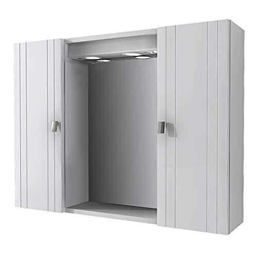 Bagno Italia Specchiera Specchio con Contenitore da 80x60x17 Bianco Due Ante con Maniglie l