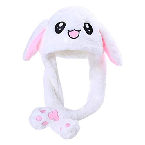berretto orecchie mobili dressfan Giocattolo del Cappello dell'orecchio di Coniglio della Peluche delle Ragazze delle Ragazze Divertenti Regalo di Compleanno-Premendo Il Bunny cap farà