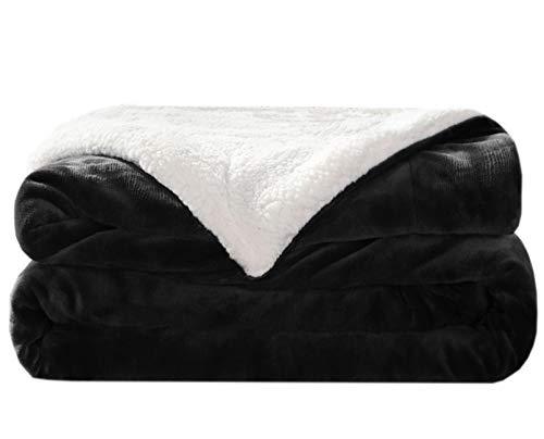 LIANLAM Sherpa Fleece Blanket King Size Dual Sided Blanket for Adults Super Soft and Warm Fuzzy Plush Cozy Luxury Big Bed Blankets (Dark Grey, King(104'x90'))