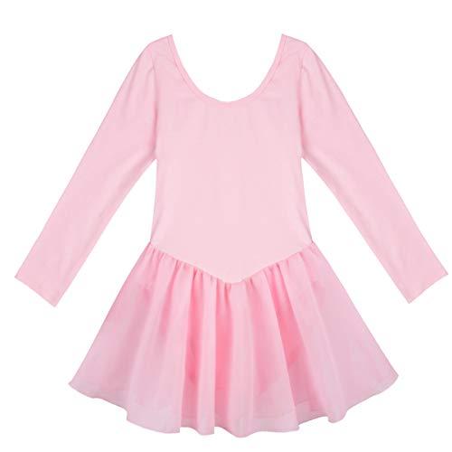 IEFIEL Vestido de Ballet Clásico Niñas Maillot Danza Gimnasia Leotardo Gimnasia Ritmica con Falda Corta Vestido Manga Larga de Patinaje Artistico Rosa A 5-6 años