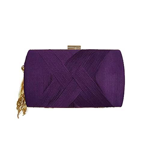 Bolso de Noche para Mujer, Bolso de Mano de diseñador de Noche, Bolso de Mano para Fiesta de Boda (Purple,One Size)
