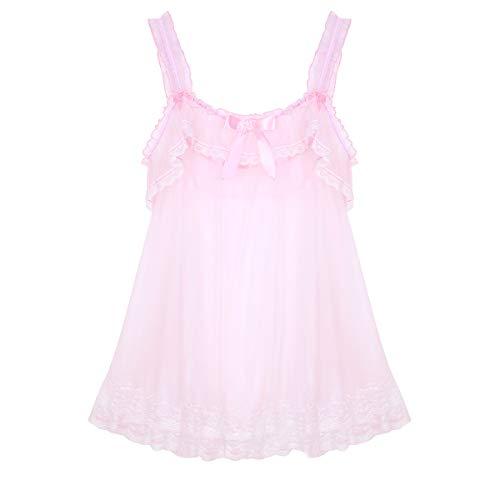 MSemis Herren Sissy Dessous Dress Kleider Nachthemd Transparent Mesh Unterhemd Rosa Träger Top Unterwäsche mit Spitzen Rüsche Nachtwäsche A Rosa XX-Large