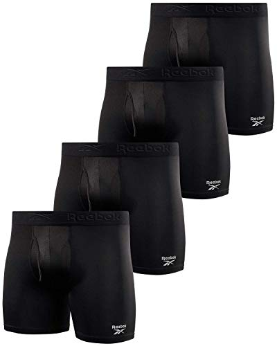 Reebok Men's Underwear - Performance Boxer Briefs with Fly Pouch (4 Pack) (Large, All Black)