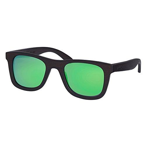 Nebelkind Unisex Bamboobastic Holz Sonnenbrille mit Bambus Etui Dunkelbraun Grün XS