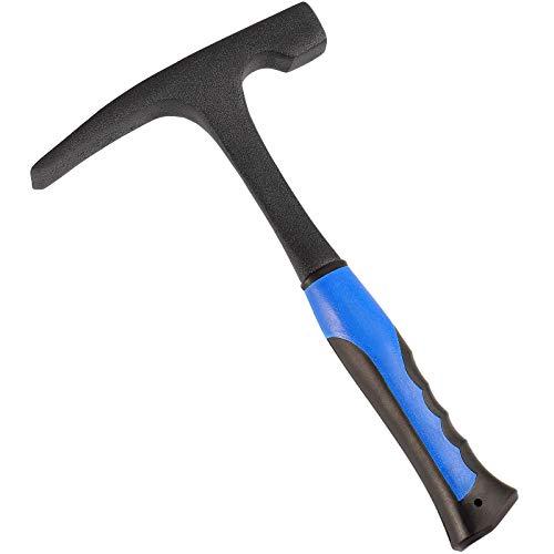 Martillo de toma de roca mate de 32 oz, martillo de ladrillo, martillo de geólogo de acero forjado de 12 pulgadas, martillo de albañilero con mango de reducción de impactos para la minería, L