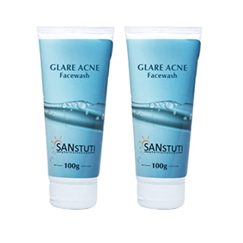 Glare Acne Pack of 2 Oil-Free   Anti Acne   Skin Brightening and Glowing Face Wash For Men & Women, 100gm