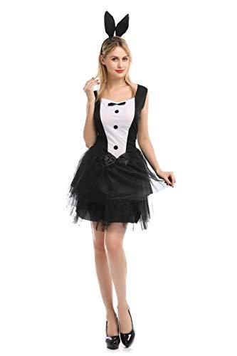 Disfraz Conejita Playboy Vestido Sexy Cosplay Halloween Carnaval para Mujer (Conejita, L)