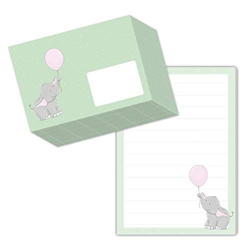 Bonito juego de papel de carta para niños con diseño Elli elefante en formato DIN A5 (50 hojas a rayas), incluye 20 sobres a juego.